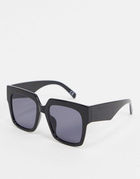 ASOS DESIGN - Oversize-Sonnenbrille in Schwarz glänzend mit dicker Fassung im Stil der 70er