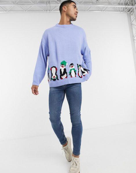 ASOS DESIGN - Oversize-Weihnachtspullover mit beidseitigem Pinguin-Design-Blau