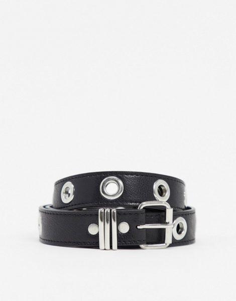 ASOS DESIGN - Schmaler Gürtel aus schwarzem Kunstleder mit Metallösen