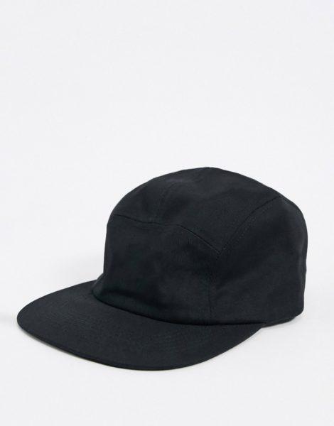 ASOS DESIGN - Schwarze Kappe mit 5 Bahnen