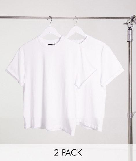 ASOS DESIGN - T-Shirt mit Rundhalsausschnitt und Rollärmeln im 2er-Pack-Mehrfarbig