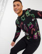 ASOS DESIGN - Weihnachtspullover aus Strick mit durchgehenden neonfarbenen Motiven-Schwarz