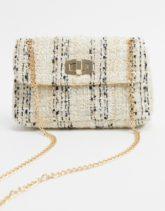 Accessorize - Ayda - Gesteppte Mini-Umhängetasche aus Tweed mit Kette-Mehrfarbig