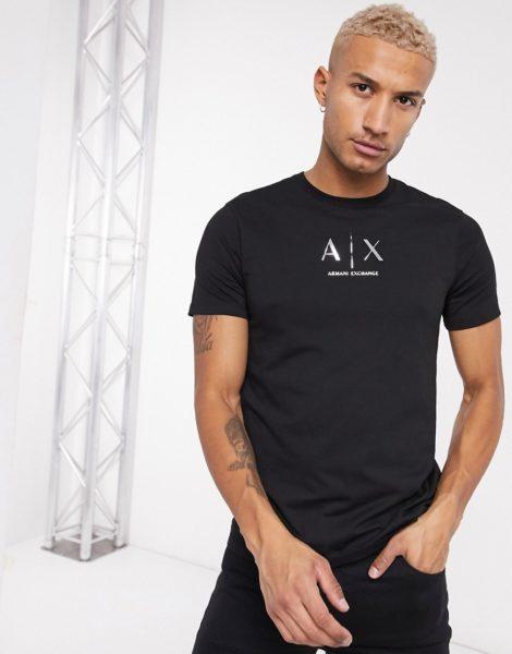 Armani Exchange - Schwarzes T-Shirt mit Metallic-Logo