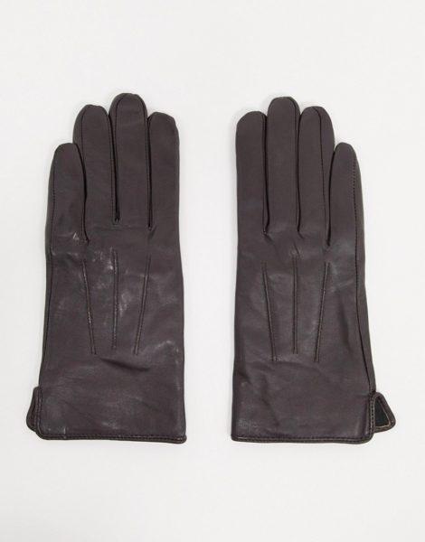 Barney's Originals - Braune Handschuhe aus echtem Leder mit Touchscreen-Funktion