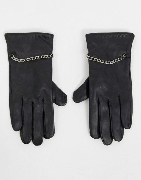 Barney's Originals - Handschuhe aus Leder mit Kettendetail in Schwarz