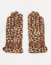 Barney's Originals - Hellbraune Handschuhe aus echtem Leder mit Schnallendetails und Leopardenmuster-Bronze