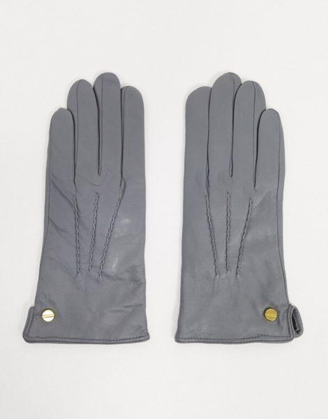 Barney's Originals - Hellgraue Handschuhe aus echtem Leder