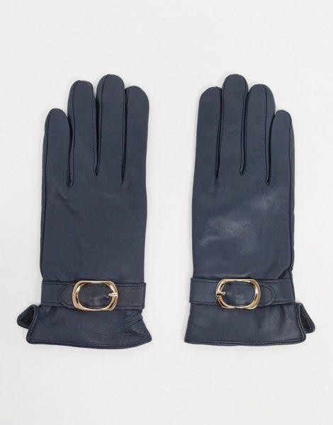 Barney's Originals - Marineblaue Handschuhe aus echtem Leder mit Schnallendetails-Navy