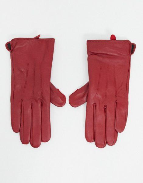 Barney's Originals - Rote Handschuhe aus echtem Leder mit Touchscreen-Funktion