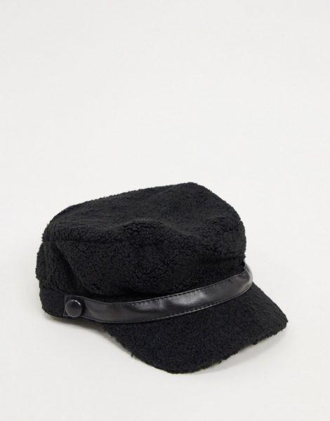 Boardmans - Blythe - Schwarze Baker-Boy-Mütze aus Bouclé