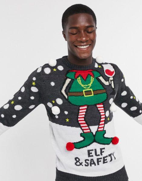 Brave Soul - Elf and Safety - Weihnachtspullover-Grau
