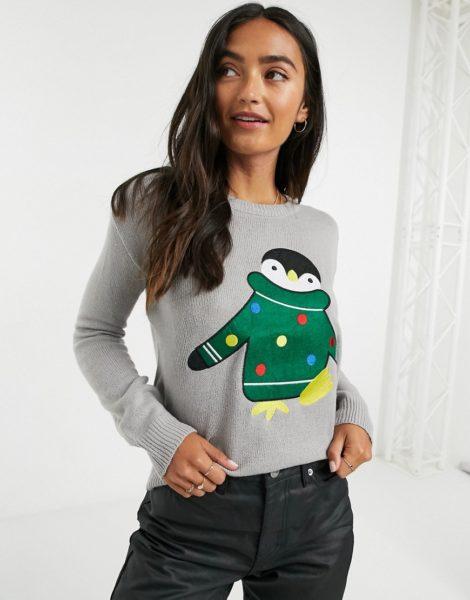 Brave Soul - Weihnachtspullover mit Pinguindesign-Grau