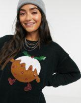 Brave Soul - Weihnachtspullover mit Pudding-Design-Schwarz