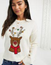 Brave Soul - Weihnachtspullover mit Rentier-Cremeweiß