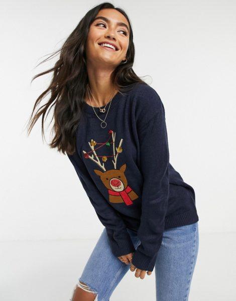 Brave Soul - Weihnachtspullover mit Rentier-Navy