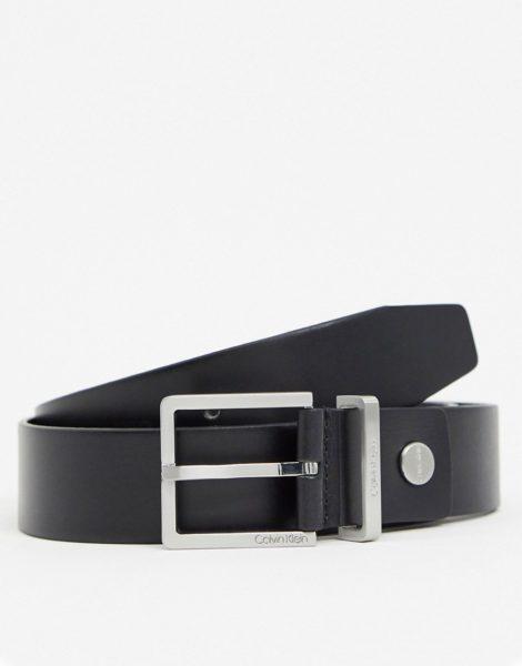 Calvin Klein - Ledergürtel mit Schnall in Schwarz