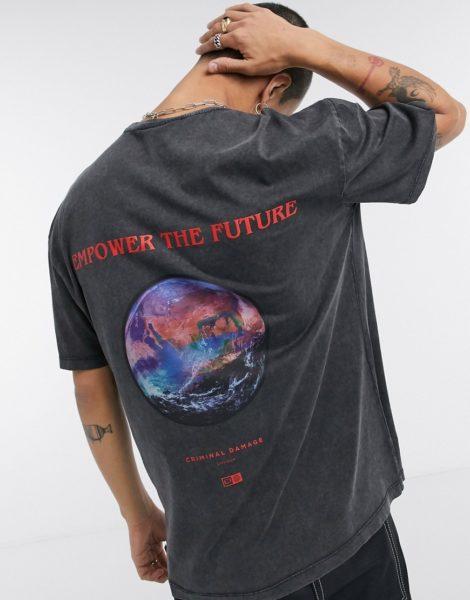 Criminal Damage - Futures - T-Shirt in verwaschenem Grau mit Print hinten
