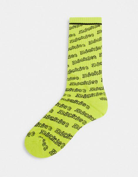 Dickies - Dubberly - Gemusterte Socken in Neongrün