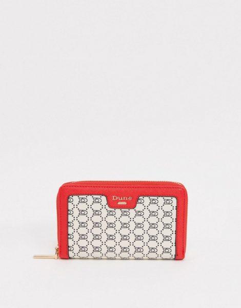 Dune - Karan - Geldbörse mit umlaufendem Reißverschluss und Monogramm in Creme und Rot-Cremeweiß