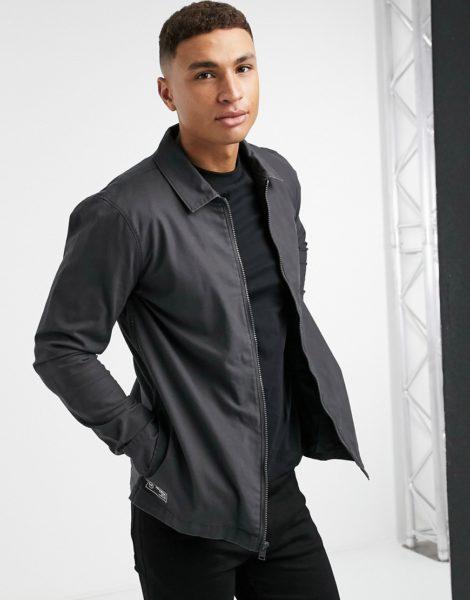 Hollister - Hemdjacke mit durchgehendem Reißverschluss und Logo hinten in Schwarz