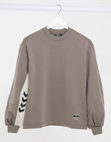 Hummel - Sweatshirt mit Logo und Ballonärmeln in Braun