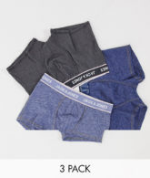 Jack & Jones - 3er Pack blaue Unterhosen mit Logo-Navy