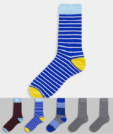 Jack & Jones - 5er Pack gestreifte Socken-Mehrfarbig