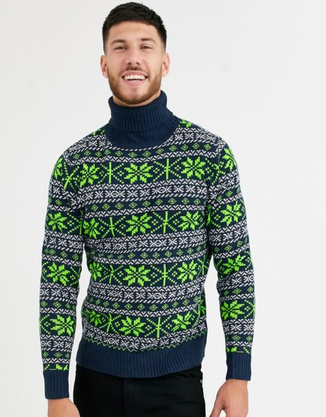 Native Youth - Weihnachtspullover mit Norwegermuster und Rollkragen in Marine mit Muster in Neongrün-Navy