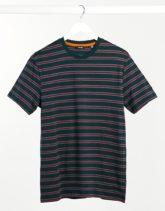 Only & Sons - T-Shirt in Grün-Bunt gestreift