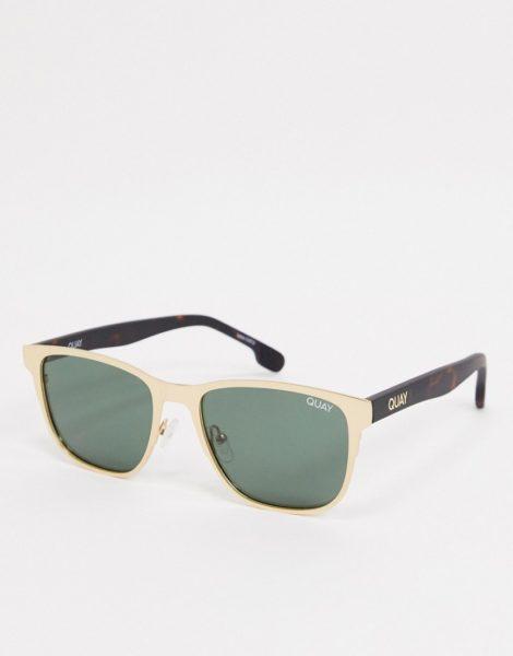 Quay Monte Carlo - Eckige Sonnenbrille für Herren in Goldfarben mit grüner Schildpattoptik