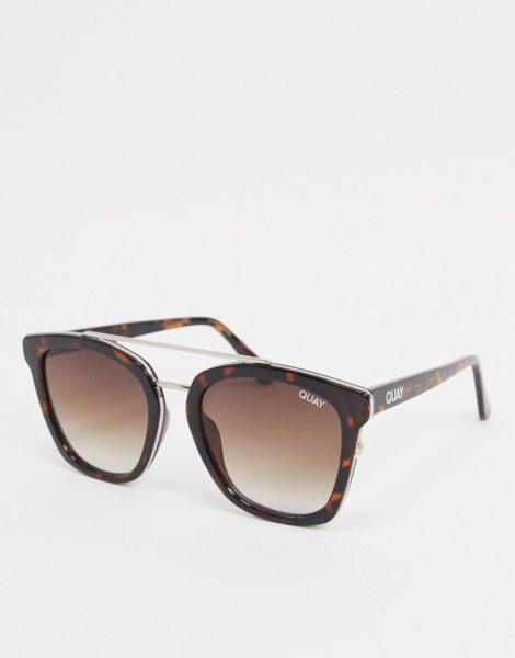 Quay - Sweet Dreams - Eckige Damen-Sonnenbrille in Schildpatt-Optik mit flachem Brauensteg-Braun
