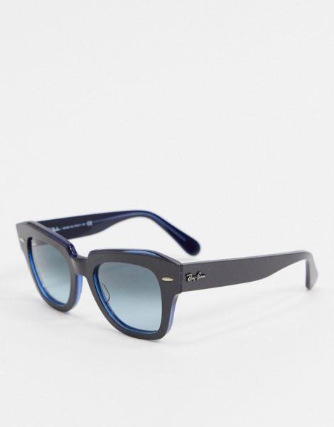 Rayban - Eckige Retro-Sonnenbrille in Blau