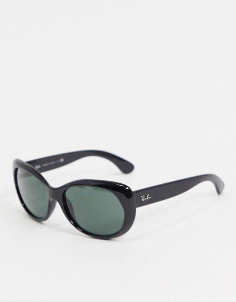 Rayban - Runde Oversize-Sonnenbrille in Schwarz
