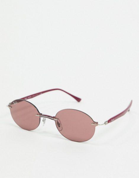 Rayban - Schmale, ovale Sonnenbrille ohne Rahmen in Violett
