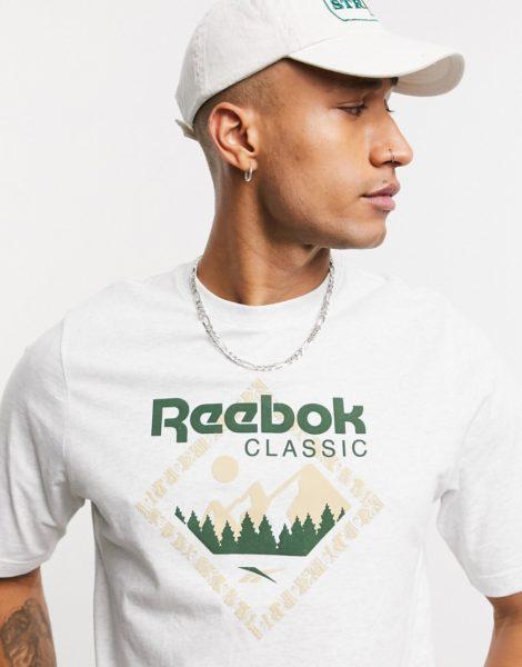 Reebok Classics - T-Shirt mit Berg-Aufdruck in Weiß meliert