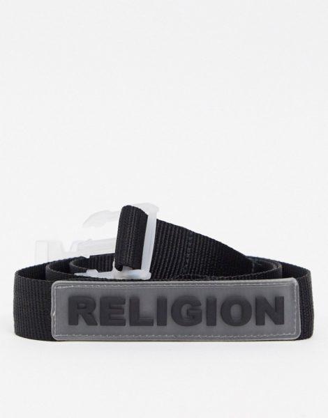 Religion - Schwarzer Webgürtel mit durchsichtiger Schnalle und Gummilogo