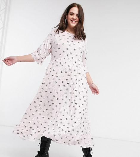 Rokoko Plus - Maxi-Hängerkleid mit Rüschensaum und Vintage-Gänseblümchenprint-Rosa