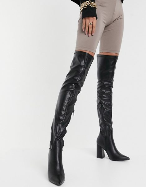 Truffle Collection - Overknee-Stiefel aus schwarzem Kunstleder mit Absatz
