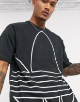 adidas Originals - Schwarzes T-Shirt mit großem Dreiblatt-Logo