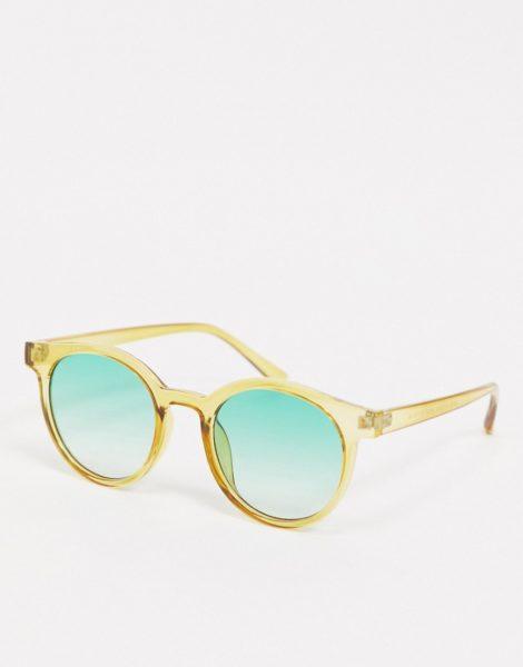 AJ Morgan - Khakifarben Sonnenbrille mit runden, grün getönten Gläsern