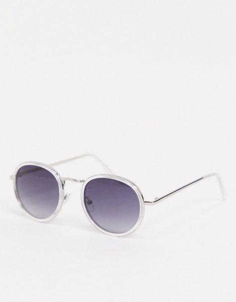 AJ Morgan - Runde Sonnenbrille mit transparentem Gestell und Gläsern in Smoke Fade