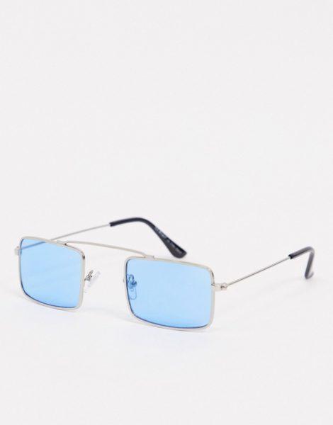 AJ Morgan - Schmale Sonnenbrille in Silber mit eckigen, blauen Gläsern