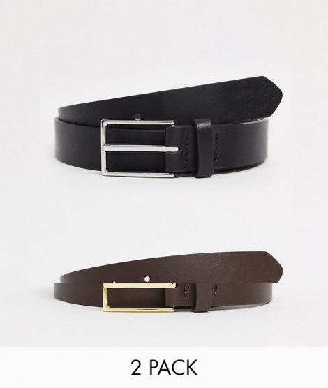 ASOS DESIGN - 2er-Pack schwarze schmale Gürtel aus Kunstleder in Schwarz und Braun mit gold- und silberfarbener Schnalle SPAREN-Mehrfarbig