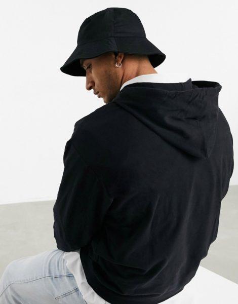 ASOS DESIGN - Anglerhut aus schwarzem Nylon mit breiter Krempe