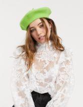 ASOS DESIGN - Baskenmütze aus Wolle in Limettengrün