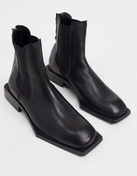 ASOS DESIGN - Chelsea-Stiefel aus schwarzem Leder mit eckiger Sohle