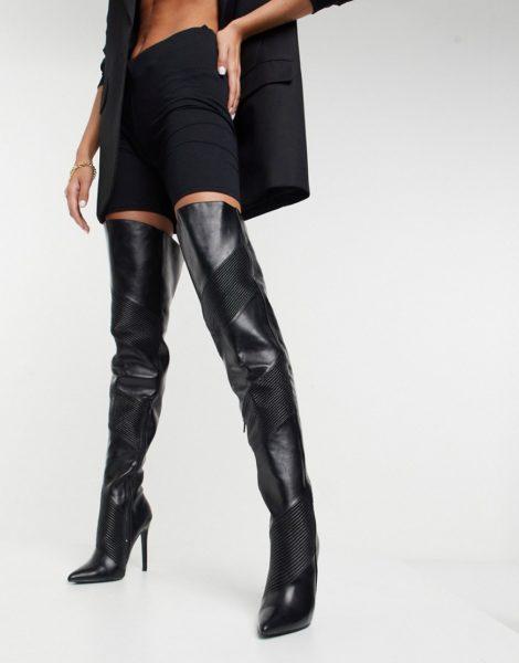 ASOS DESIGN - Kara - Gesteppte Overknee-Stiefel in Schwarz