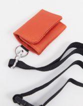 ASOS DESIGN - Kartenetui mit abnehmbarem Schlüsselband in Orange-Rot