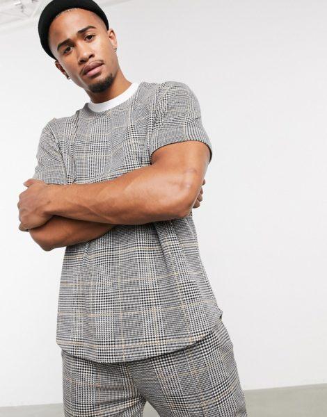 ASOS DESIGN - Legeres T-Shirt mit Jacquard-Hahnentrittmuster und Kontrastkragen-Mehrfarbig